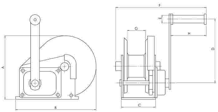 Yale HWC HWCS Spur Gear Manual Winch Dimensions