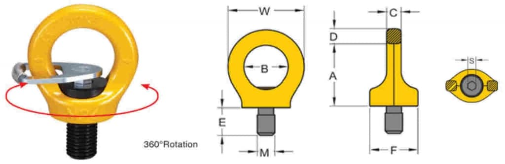 Yoke G8 Key Eyepoint Eyebolt Dimensions
